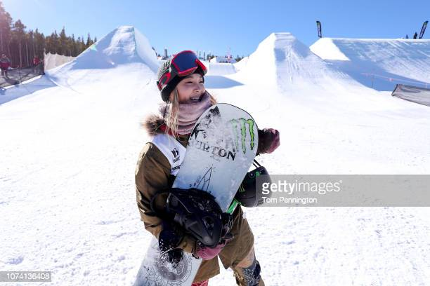 Chloe Kim of the United States celebrates after winning the Women's Snowboard Modified Superpipe Final presented by Toyota during Day 4 of the Dew...