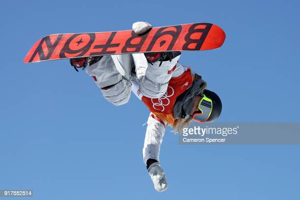 Chloe Kim of the United States competes during the Snowboard Ladies' Halfpipe Final on day four of the PyeongChang 2018 Winter Olympic Games at...