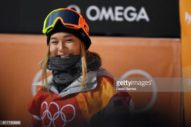 Chloe Kim of the United States smiles in the Snowboard Ladies' Halfpipe Qualification on day three of the PyeongChang 2018 Winter Olympic Games at...