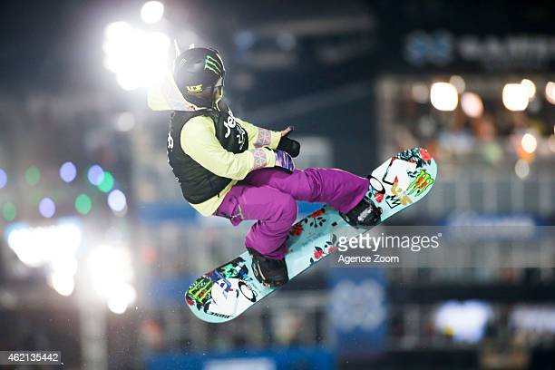 Chloe Kim of the USA takes 1st place during the Winter X Games Women's Snowboard Superpipe on January 24 2015 in Aspen USA