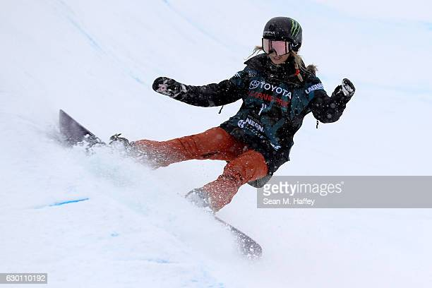 Chloe Kim reacts to her third run in the final round of the FIS Snowboard World Cup 2017 Ladies' Snowboard Halfpipe during The Toyota U.S. Grand Prix...