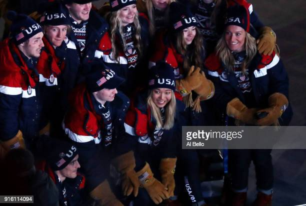 Chloe Kim Snowboarder of The United States and teammates enter the stadium during the Opening Ceremony of the PyeongChang 2018 Winter Olympic Games...