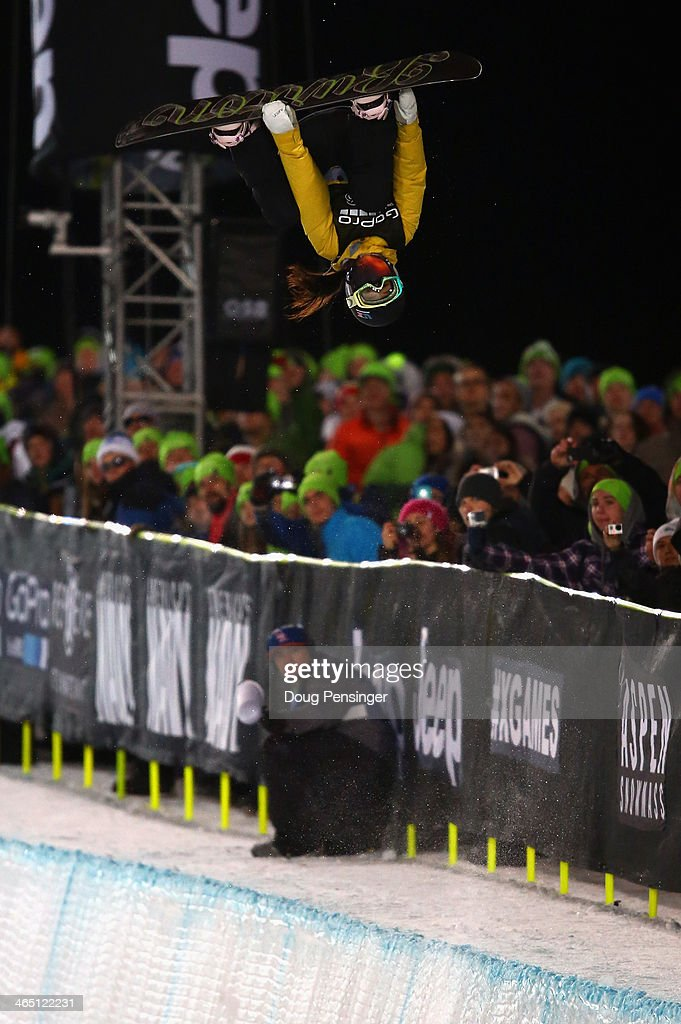 Chloe Kim soars above the pipe and spectators as she finished second in the women's Snowboard Superpipe at Winter X-Games 2014 Aspen at Buttermilk Mountain on January 25, 2014 in Aspen, Colorado.
