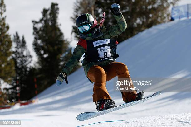 Chloe Kim takes a practice run in the Halfpipe during the 2016 U.S. Snowboarding Grand Prix at Mammoth Mountain Resort on January 20, 2016 in...