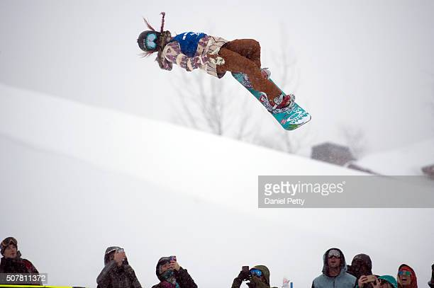 Chloe Kim takes off during her second run of the women's snowboard halfpipe at Winter X Games 2016 Aspen at Buttermilk Mountain on January 31 in...