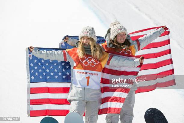 Chloe Kim USA GOLD with Arielle Gold USA BRONZE following the women's halfpipe final at the Pyeongchang Winter Olympics on 13th February 2018 at...