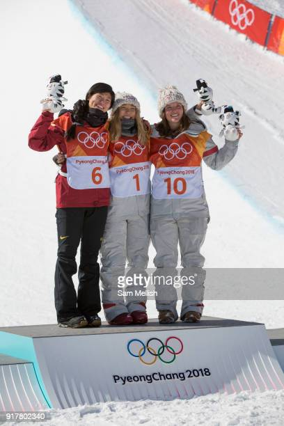 Chloe Kim USA GOLD with Jiayu Liu China SILVER and Arielle Gold USA BRONZE following the women's halfpipe final at the Pyeongchang Winter Olympics on...