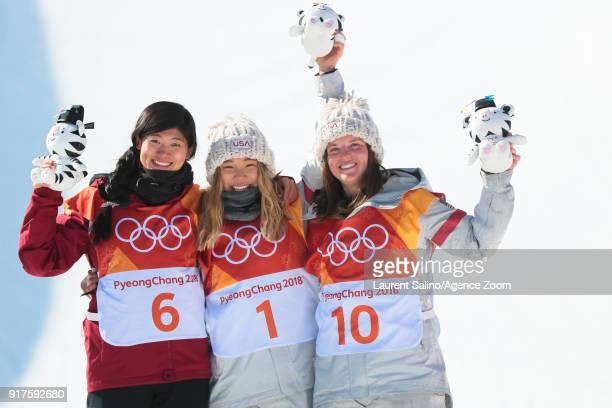 Chloe Kimof USA takes 1st place Jiayu Liu of China takes 2nd place Arielle Gold of USA takes 3rd place during the Snowboarding Women's Halfpipe...