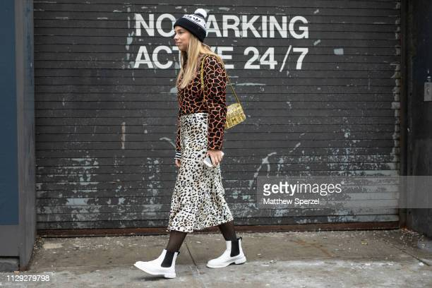 Chloe King is seen on the street during New York Fashion Week AW19 wearing Gabriela Hearst on February 12 2019 in New York City