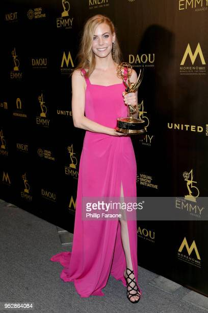 Chloe Lanier winner of Outstanding Younger Actress in a Drama Series for 'General Hospital' poses in the press room during the 45th annual Daytime...