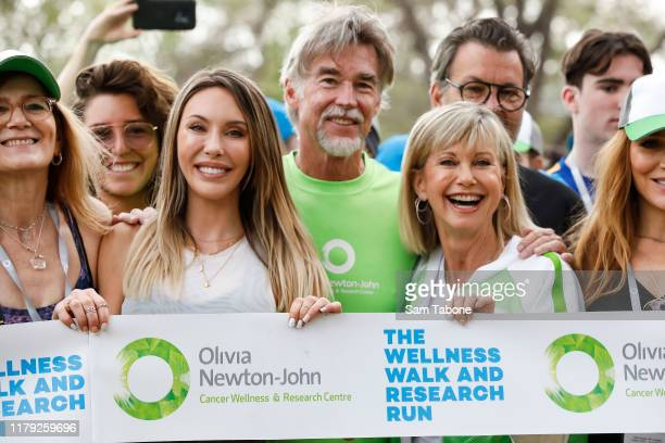 Chloe Lattanzi John Easterling and attends the Olivia NewtonJohn Wellness Walk and Research Run on October 06 2019 in Melbourne Australia The event...