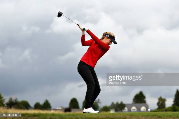 Chloe Leurquin of Belgium takes her tee shot on hole fourteen during match 2 of Group A during day one of the European Golf Team Championships at...