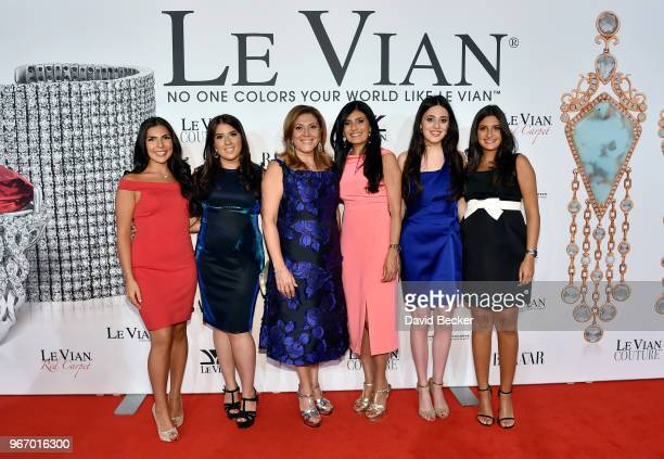 Chloe LeVian Alexa LeVian Elizabeth LeVian Miranda LeVian Lexy LeVian and Naomi LeVian attend the Le Vian 2019 Red Carpet Revue at the Mandalay Bay...