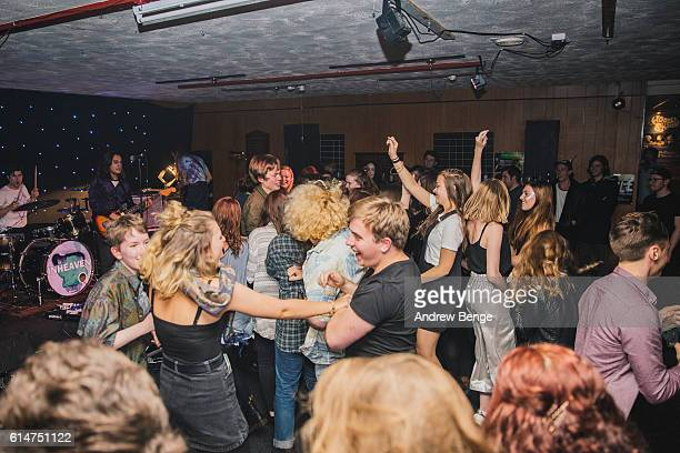 Chloe Little Joe Lazarus James Taylor and Jake Lucas of InHeaven perform at Brudenell Social Club on October 14 2016 in Leeds England