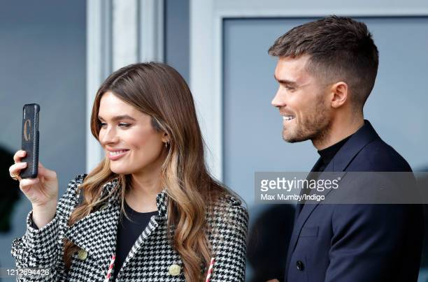 Chloe Lloyd and Josh Cuthbert attend day 4 'Gold Cup Day' of the Cheltenham Festival 2020 at Cheltenham Racecourse on March 13 2020 in Cheltenham...
