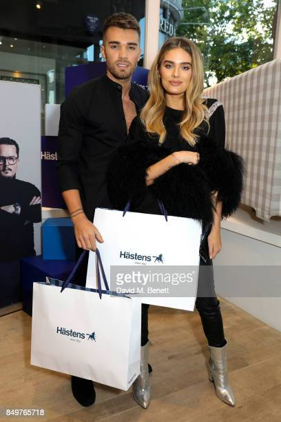 Chloe Lloyd and Josh Cuthbert attend the launch party for Hastens Appaloosa The Marwari Beds at the Hastens Chelsea Showroom on September 19 2017 in...