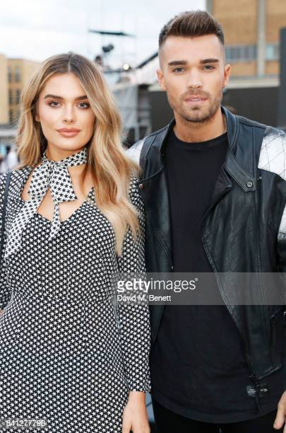 Chloe Lloyd and Josh Cuthbert attend the VOXI launch party at Brick Lane Yard on August 31 2017 in London England