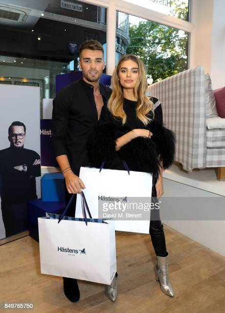Chloe Lloyd and Josh Cuthbert attends the launch party for Hastens Appaloosa The Marwari Beds at the Hastens Chelsea Showroom on September 19 2017 in...