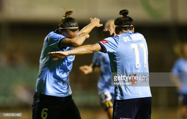 Chloe Logarzo and Lisa De Vanna of Sydney FC celebrate a goal scored by Logarzo during the round one W-League match between the Western Sydney...