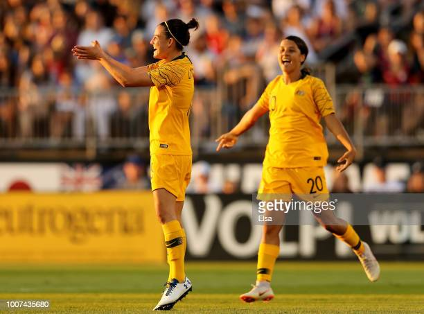 Chloe Logarzo celebrates her goal with teammate Sam Kerr in the first half against the United States during the 2018 Tournament of Nations at Pratt...