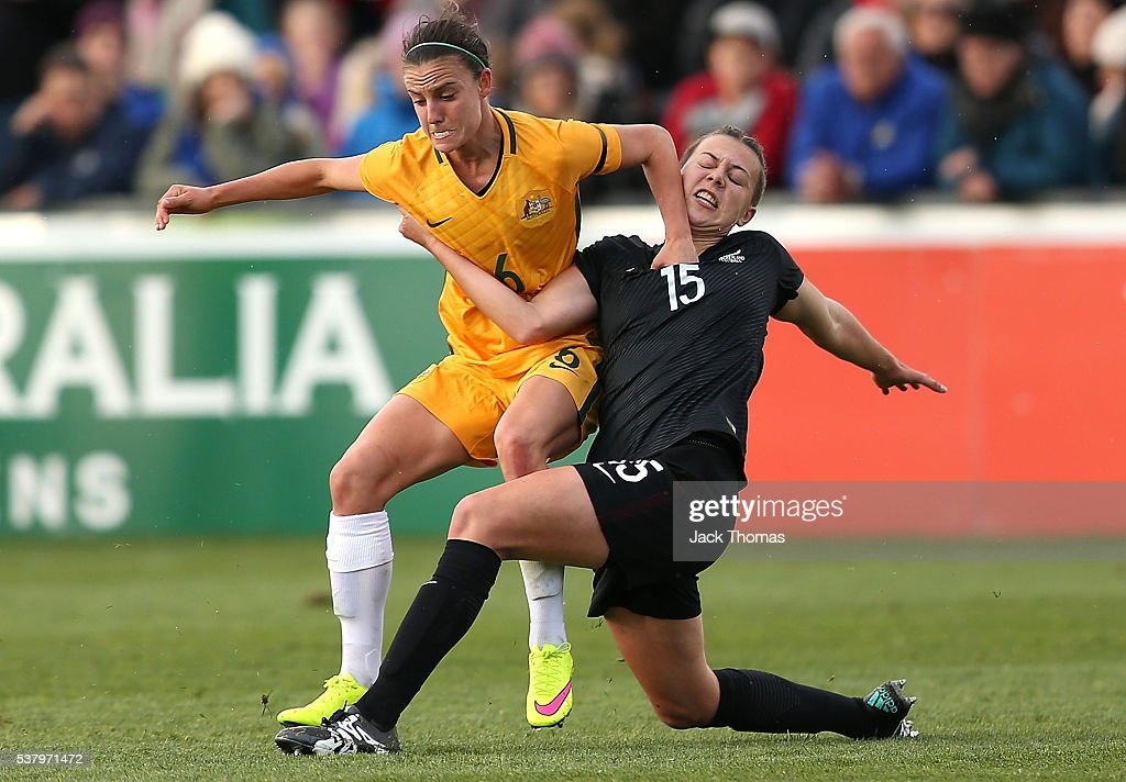 Chloe Logarzo of Australia (L) and Meikayla Moore of New Zealand compete for the ball during the women's international friendly match between the Australian Matildas and the New Zealand Football Ferns at Morshead Park on June 4, 2016 in Ballarat, Australia.