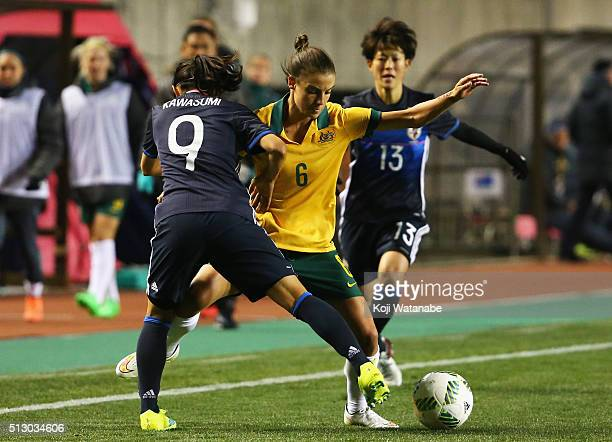 Chloe Logarzo of Australia and Naomi Kawasumi of Japan compete for the ball during the AFC Women's Olympic Final Qualification Round match between...