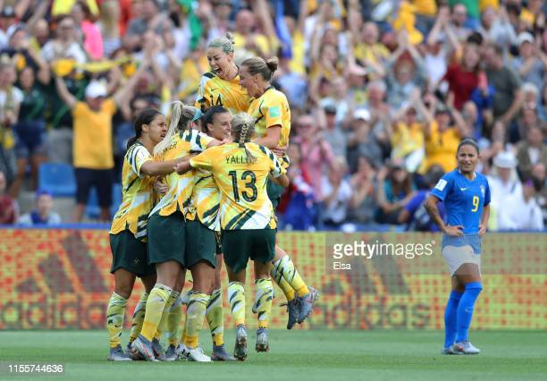 Chloe Logarzo of Australia celebrates with teammates after scoring her team's second goal during the 2019 FIFA Women's World Cup France group C match...
