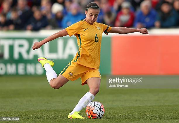Chloe Logarzo of Australia kicks the ball during the women's international friendly match between the Australian Matildas and the New Zealand...