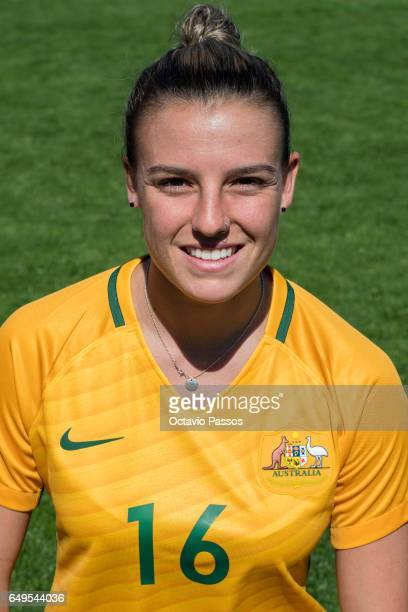 Chloe Logarzo of Australia poses for a portrait prior the Women's Algarve Cup Tournament match between Australia and Denmark at Municipal de...