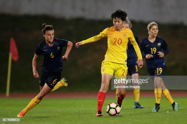 Chloe Logarzo of Australia Women Zhang Rui of China Women during the Algarve Cup Women match between Australia v China PR at the Estádio Municipal de...