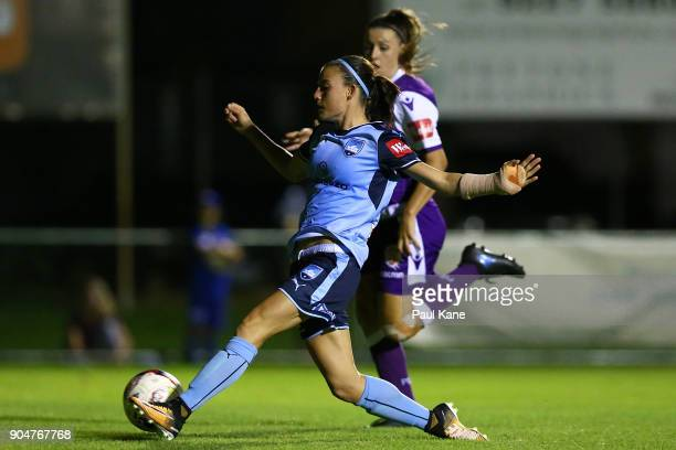 Chloe Logarzo of Sydney chips the ball in for a goal during the round 11 WLeague match between the Perth Glory and Sydney FC at Dorrien Gardens on...