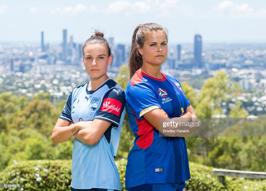 Chloe Logarzo of Sydney FC and Katie Stengel of Newcastle Jets pose for a photo during the official launch of the W-League Finals Series at Brisbane Lookout on February 5, 2018 in Brisbane, Australia.