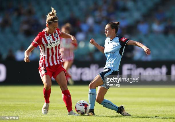 Chloe Logarzo of Sydney FC competes for the ball against Aivi Luik of Melbourne City during the WLeague Grand Final match between Sydney FC and...
