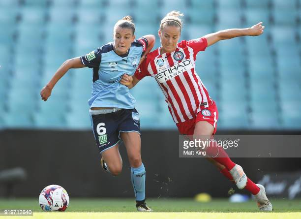 Chloe Logarzo of Sydney FC is challenged by Aivi Luik of Melbourne City during the WLeague Grand Final match between Sydney FC and Melbourne City FC...