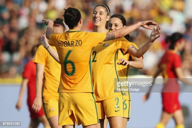 Chloe Logarzo of the Matildas celebrates a goal during the Women's International match between the Australian Matildas and China PR at Simonds...