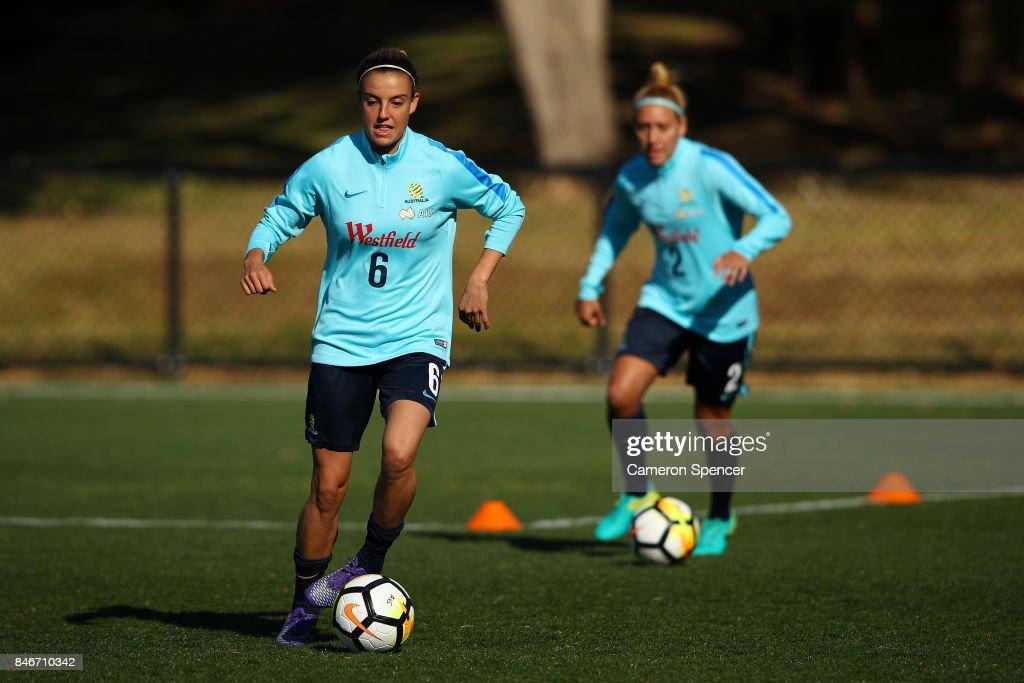 Chloe Logarzo of the Matildas dribbles the ball during a Matildas training session on September 14, 2017 in Sydney, Australia.