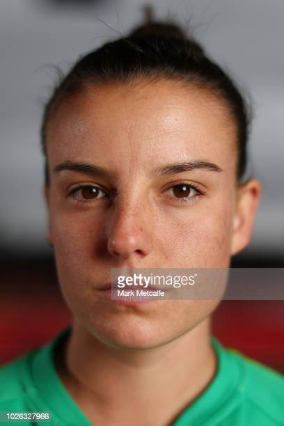 Chloe Logarzo of the Matildas poses for a photo at Panthers Stadium after the announcement of a two match International Friendly series against Chile...