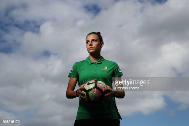 Chloe Logarzo poses during the FFA Elite Women's Football Program Launch at Valentine Sports Park on May 14 2018 in Sydney Australia