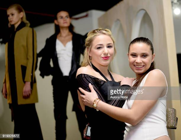 Chloe Lukasiak and Arianne Elmy attend Arianne Elmy FW18 Presentation at 151 Gallery on February 14 2018 in New York City