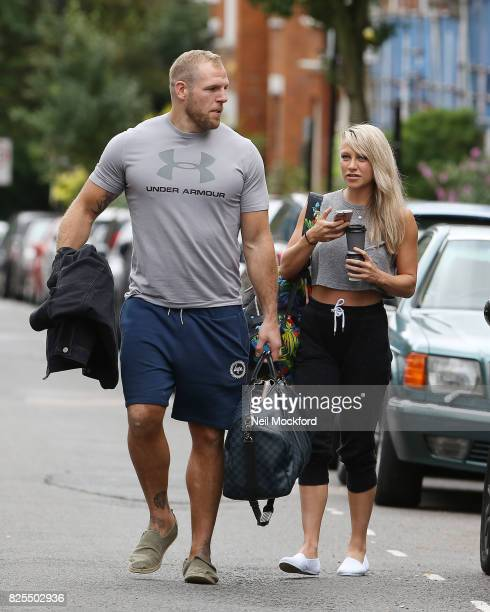Chloe Madeley and James Haskell seen out in Belsize Park before returning to their car to find they'd been issued a parking ticket on August 2 2017...
