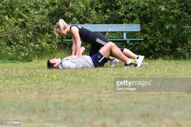 Chloe Madeley and Sam Attwater are seen training for the Virgin Triathlon on June 13 2011 near Guildford England
