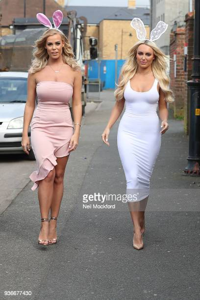 Chloe Meadows and Amber Turner seen filming 'The Only Way Is Essex' TV show at Sugarhut in Brentwood Essex on March 22 2018 in London England