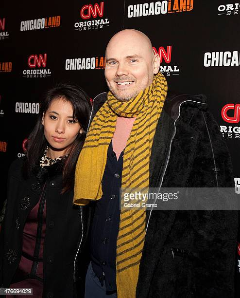Chloe Mendel and Billy Corgan attend the 'Chicagoland' series premiere at Bank of America Theater on March 4 2014 in Chicago Illinois