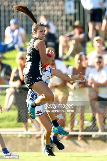 Chloe Molloy of the Magpies marks the ball during the AFLW Finals Series match between the Collingwood Magpies and the North Melbourne Kangaroos at...