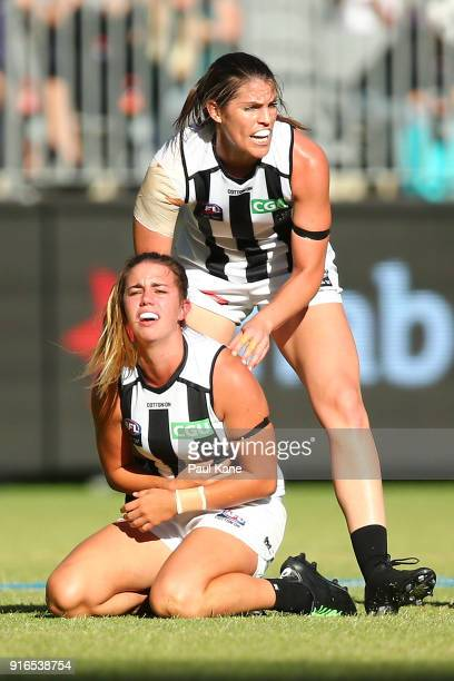 Chloe Molloy of the Magpies reacts after being tackled during the round two AFLW match between the Fremantle Dockers and the Collingwood Magpies at...