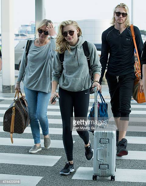 Chloe Moretz and brother Trevor Moretz are seen on departure at Incheon International Airport on May 22 2015 in Incheon South Korea