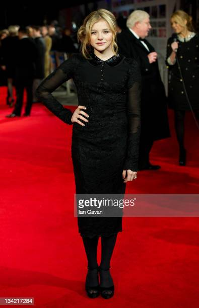 Chloe Moretz attends The Royal film performance of Martin Scorsese's 'Hugo in 3D' at the Odeon Leicester Square on November 28, 2011 in London,...