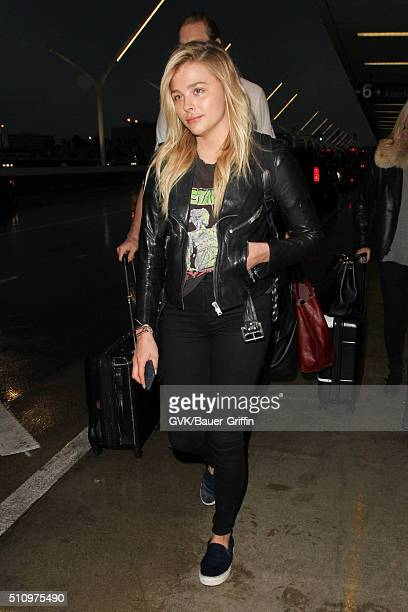 Chloe Moretz is seen at LAX on February 17 2016 in Los Angeles California