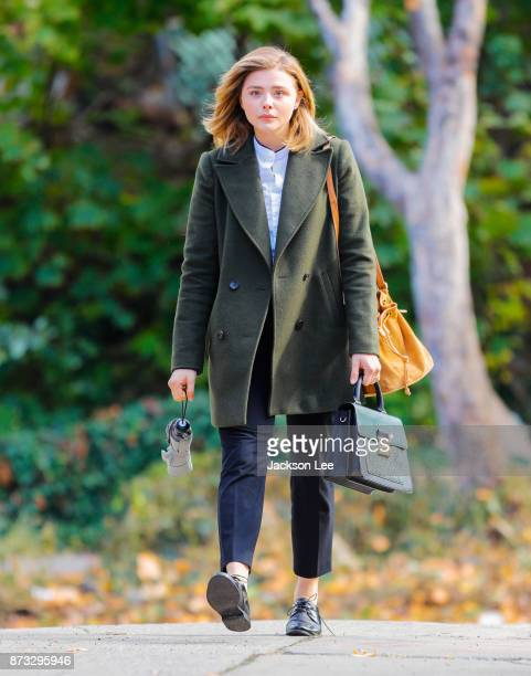 Chloe Moretz on location for 'The Widow' on November 12 2017 in New York City