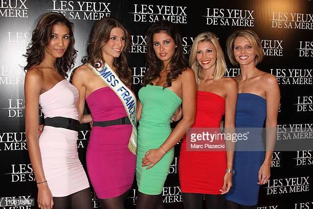 Chloe Mortaud Miss France Laury Thilleman Malika Menard Alexandra Rosenfeld and Sylvie Tellier attend the 'Les yeux de sa mere' Paris Premiere on...